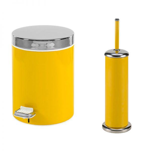 Σετ Κάδος-Πιγκάλ Κίτρινο-Inox